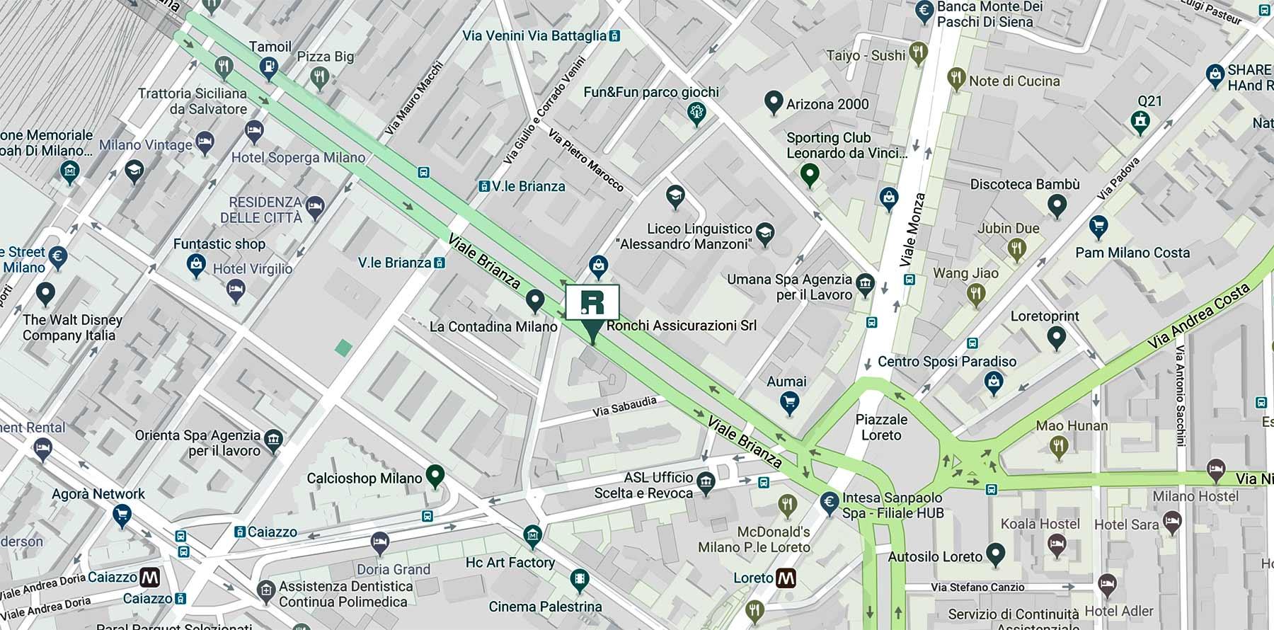 Ronchi Assicurazioni - Mappa viale Brianza 11 Milano