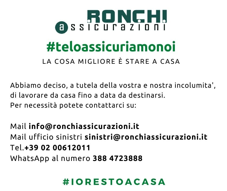 Chiusura Covid-19 Ronchi Assicurazioni